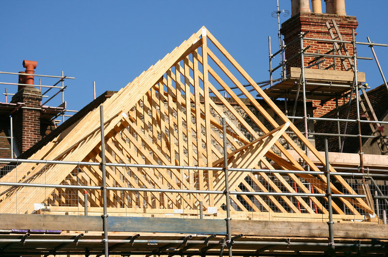 Roof timber frame stock photo