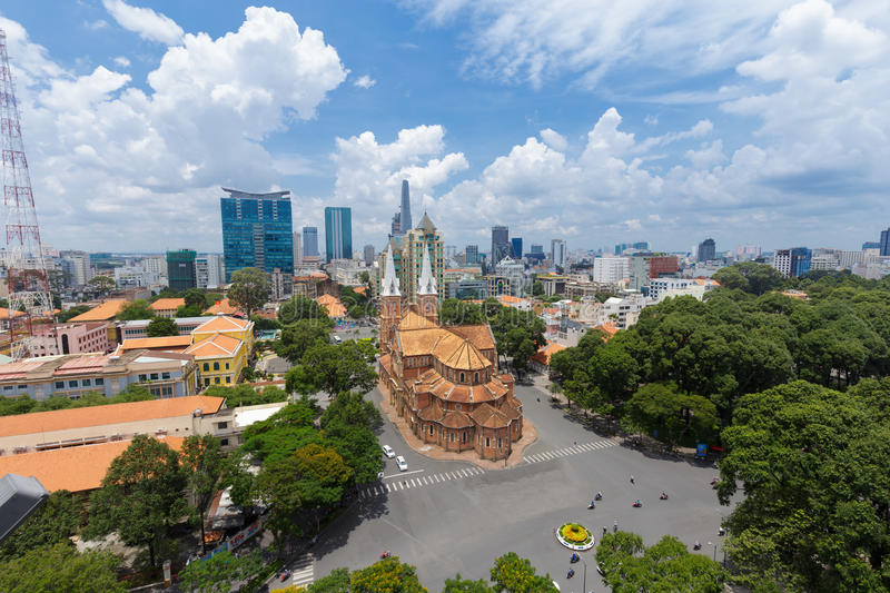 Roof top high view of Notre Dame Cathedral. HO CHI MINH CITY, VIETNAM - JULY 26, 2015 : Roof top high view of Notre Dame Cathedral, Nha Tho Duc Ba, build in 1883 stock photos