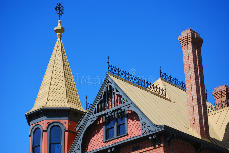 Roof top of house stock photos