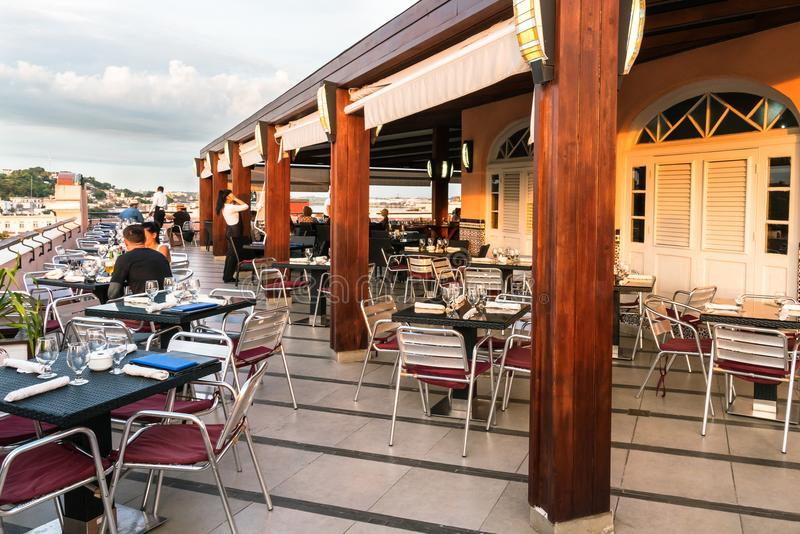 Roof top terrace restaurant stock photo
