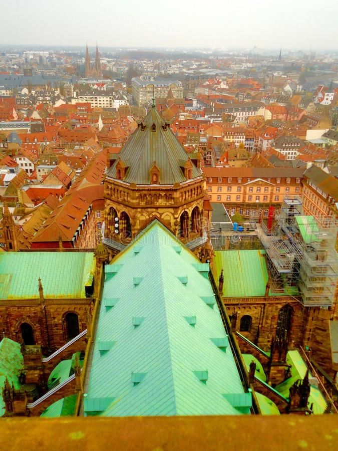 Roof-top view of Strasbourg, France. Strasbourg Cathedral de Notre-Dame is known as one of the most beautiful gothic cathedrals in Europe. It is the sixth royalty free stock image