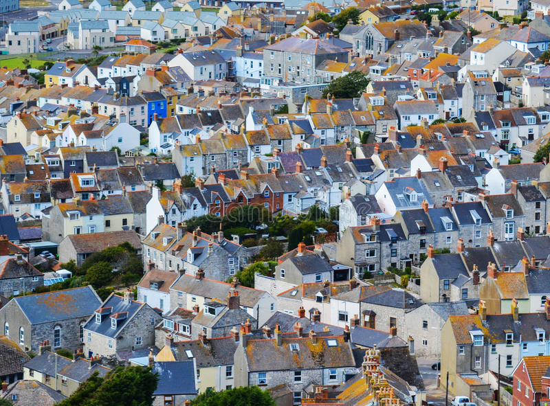 Roof Tops. Houses near the Famous Chesil beach near portland in Weymouth, Dorset, Southern England stock photography