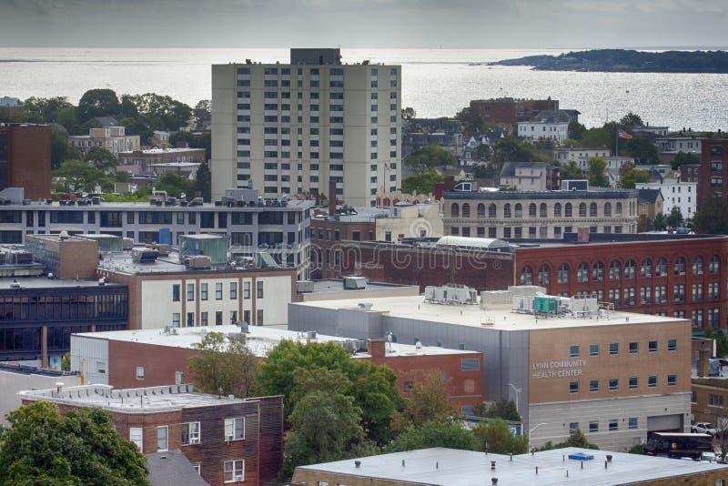 Roof Tops in Lynn, MA lizenzfreie stockbilder