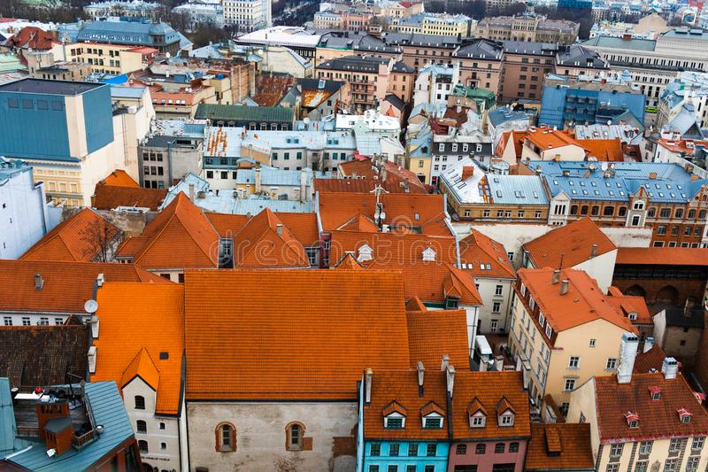 Riga old town roof tops. Roof tops of old town Riga from a high vantage point royalty free stock photo