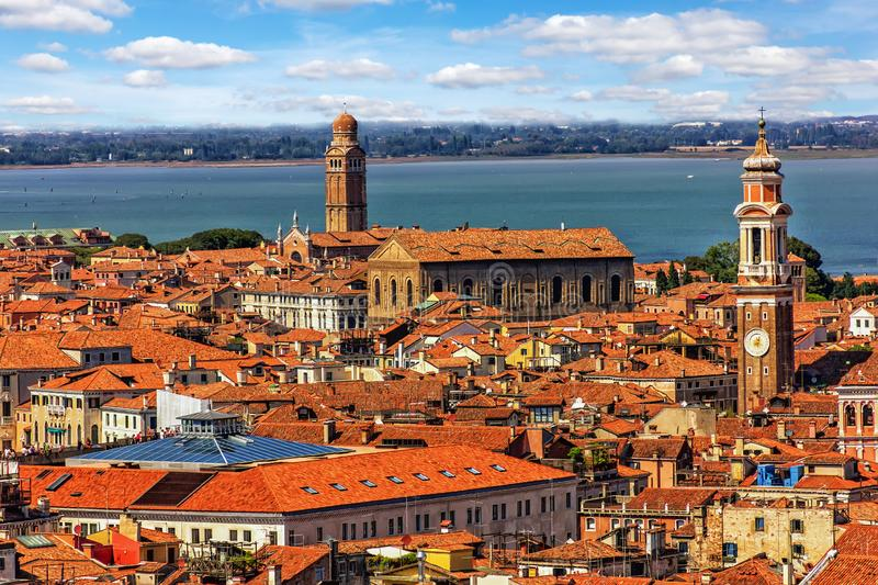 Roof and towers of Venice from the top of San Marco Campanile stock images