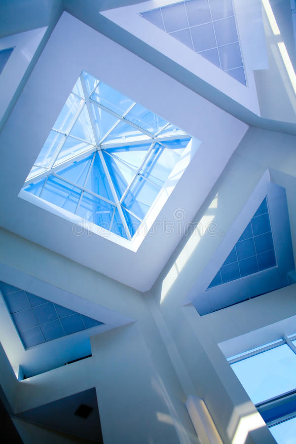 Roof transparent in office building stock photo