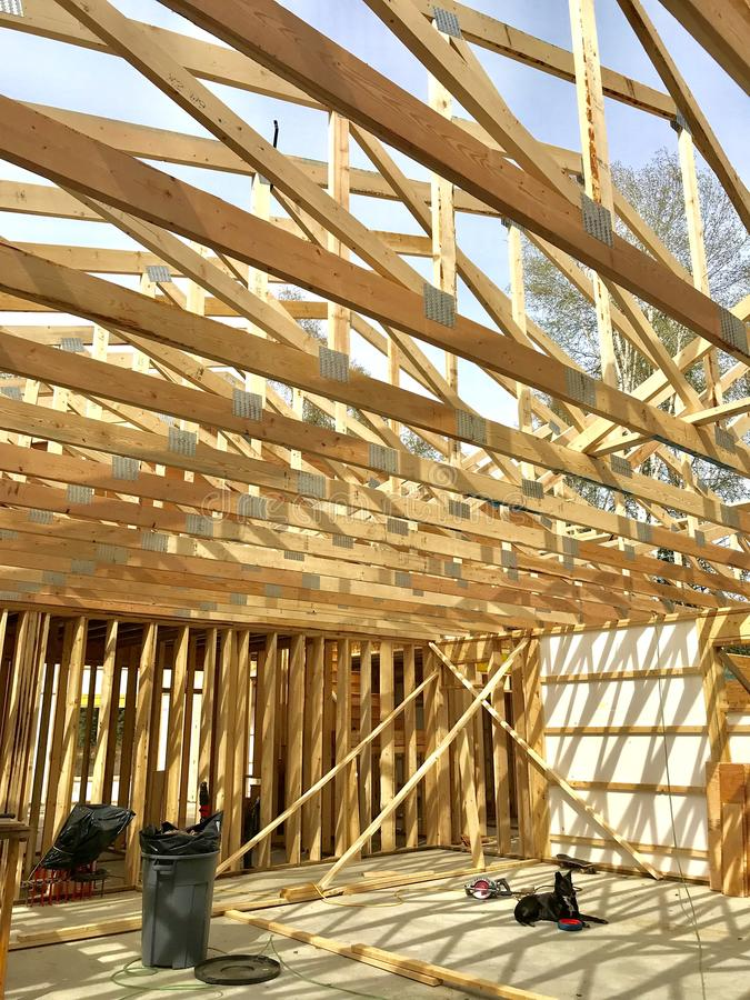 Roof trusses in attic royalty free stock photos