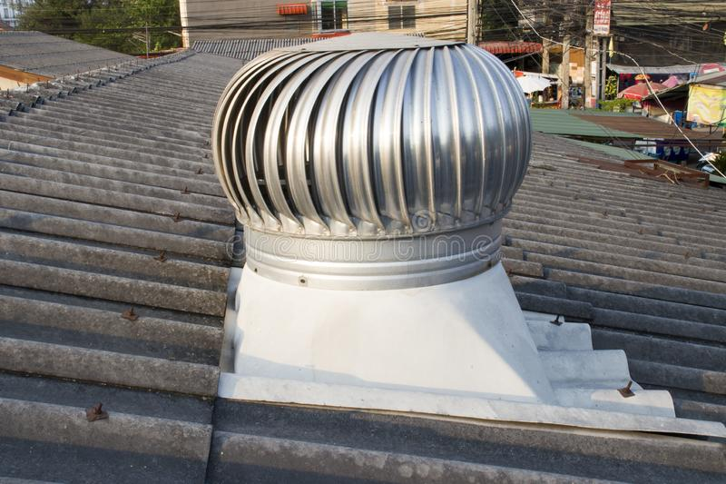 Roof Ventilator on roof of industry,  Chiangmai, Thailand - May 9, 2019 royalty free stock image