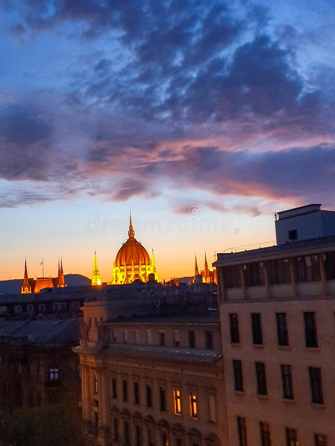 Roof view on Hungarian parliament, Budapest at sunset stock photo