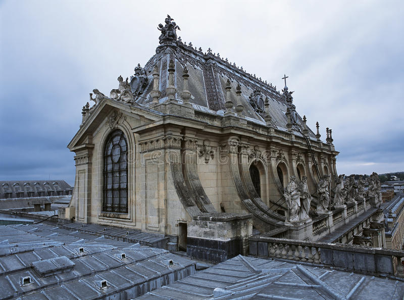 Roof view of the royal chapel at Versailles Palace stock photography