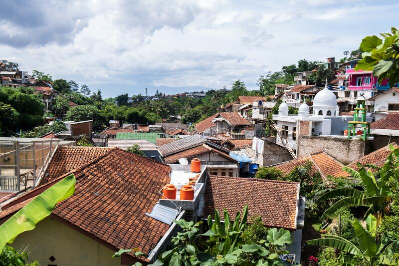 Roof view of a village in Bandung, Indonesia. The roof view of a village in Bandung, Indonesia stock photo