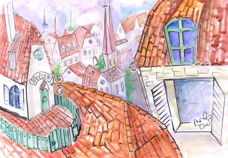 Roof watercolor sketch for children. A house on the roof, like Carlson`s, the inscription is welcome, the drawing is done in watercolor and liner, the roofs stock illustration