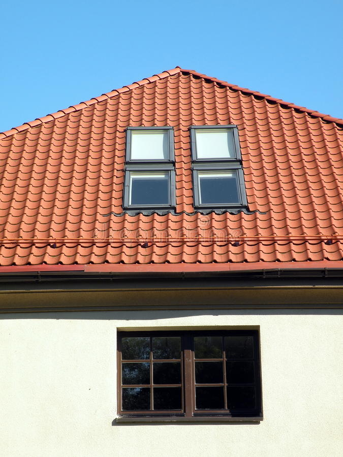 Download Roof with windows stock image. Image of yellow, wall - 16007553