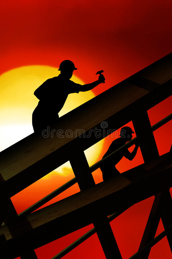 Roof worker royalty free illustration
