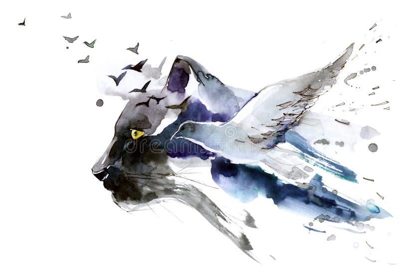 Roofdier en vogel vector illustratie