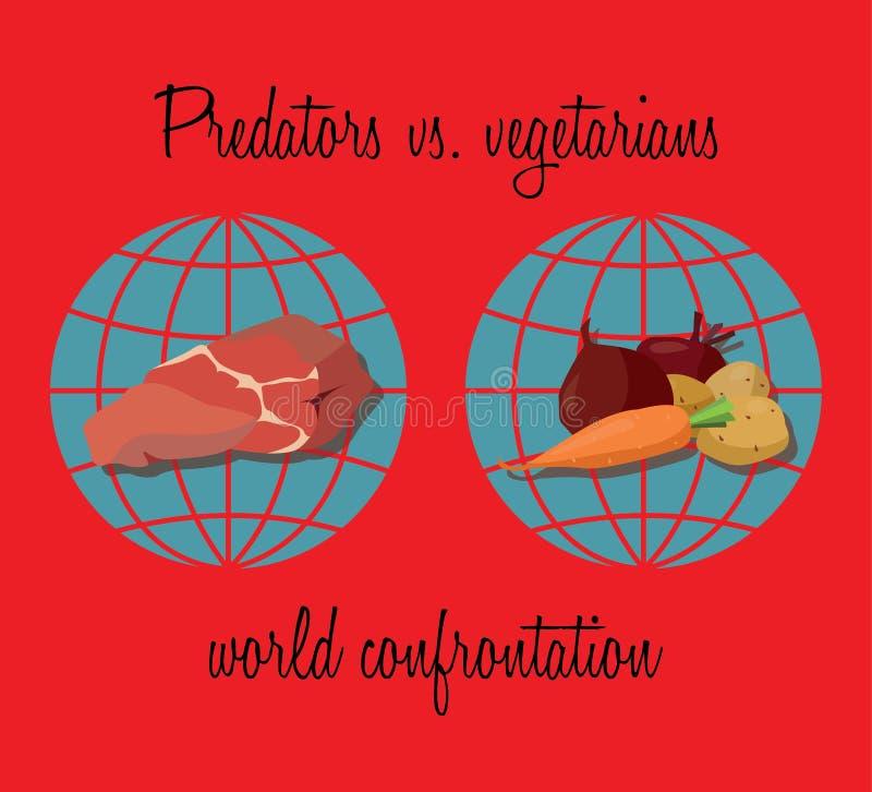 Roofdieren versus vegetariërs vector illustratie
