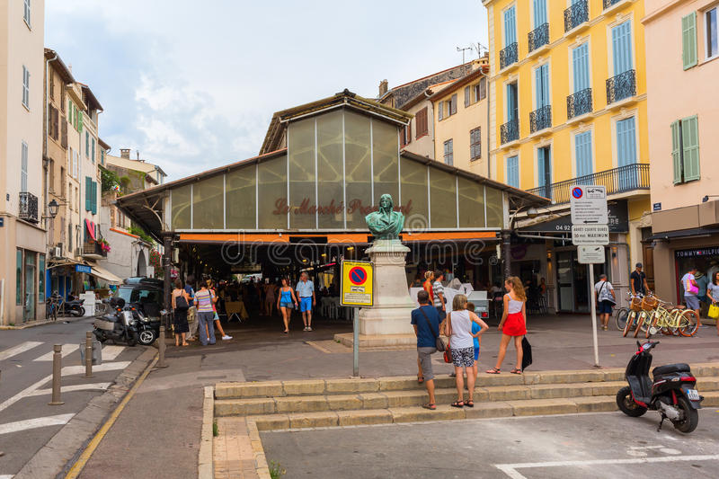 Roofed market hall in Antibes, France stock photo