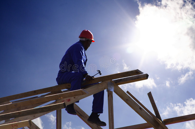 Roofer cu royalty free stock image