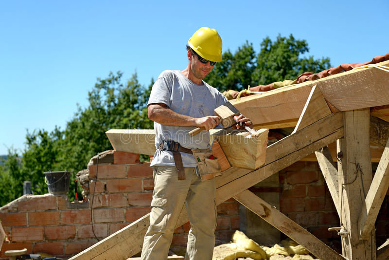 Roofer five stock photo