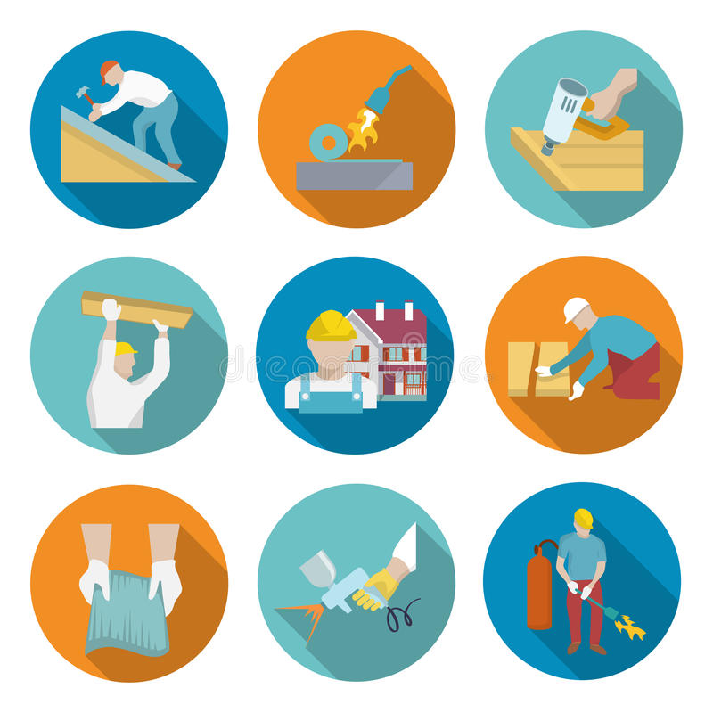 Roofer Icons Set stock illustrationer