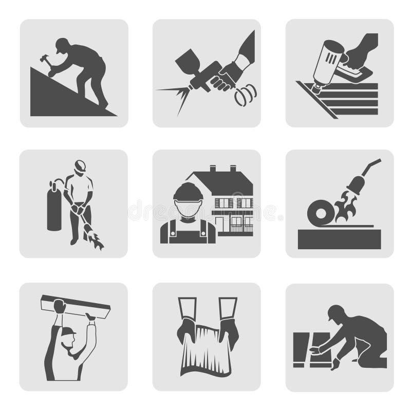 Roofer Icons Set stock abbildung