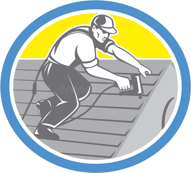 Roofer Roofing Worker Circle Retro- stock abbildung