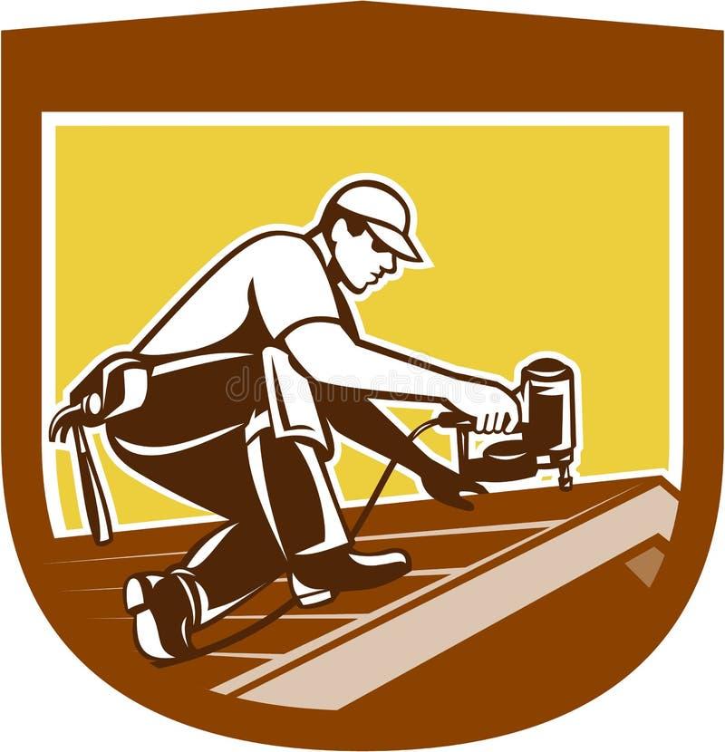 Roofer-Roofing Worker Crest-Schild Retro- lizenzfreie abbildung