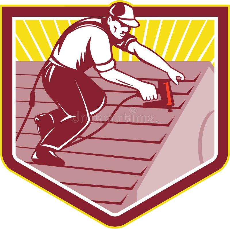 Roofer Roofing Worker Retro vektor abbildung