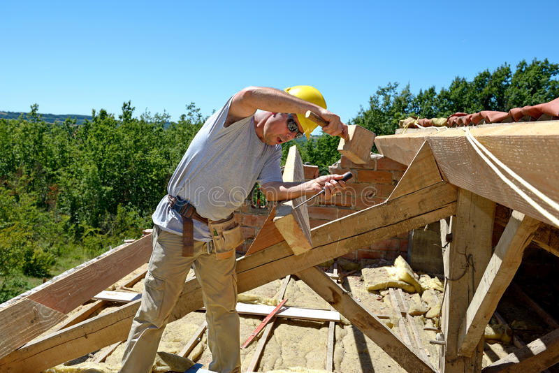 Roofer three royalty free stock photography