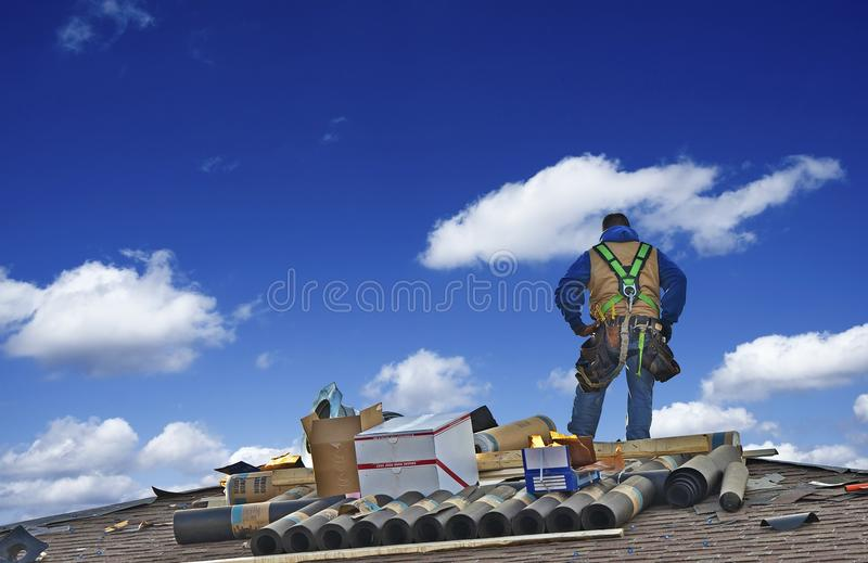Roofer Worker de construction photo stock