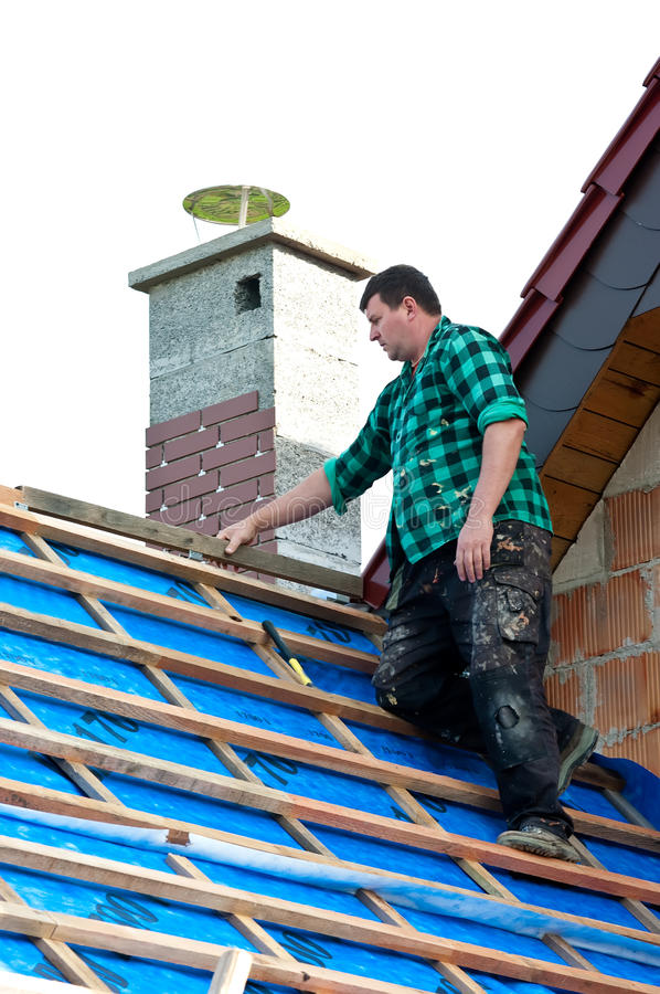 Roofer working royalty free stock photo