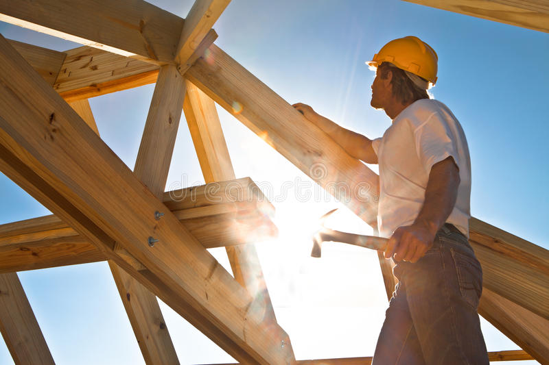 Roofer stock photography