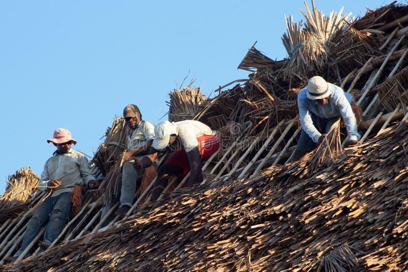 Roofers africanos en el trabajo foto de archivo libre de regalías