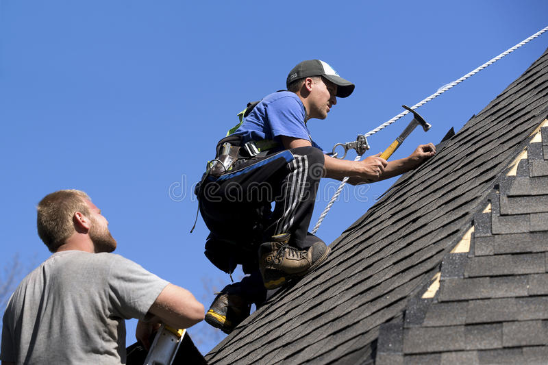 Roofers on a Steep Pitch. Roofers work as a team on a steep pitch installing asphalt shingles on a high roof royalty free stock photos