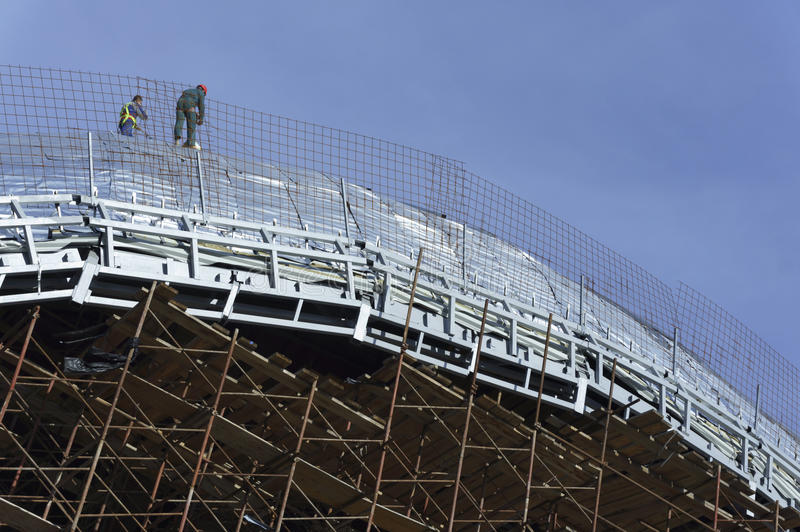 Download Roofers, Tied With Ropes Working On The Roof  4 Stock Image - Image of structure, protection: 66270407