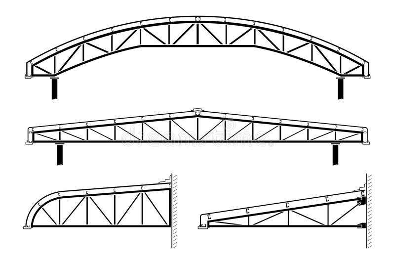 Roofing Building Steel Frame Roof Truss Collection Vector