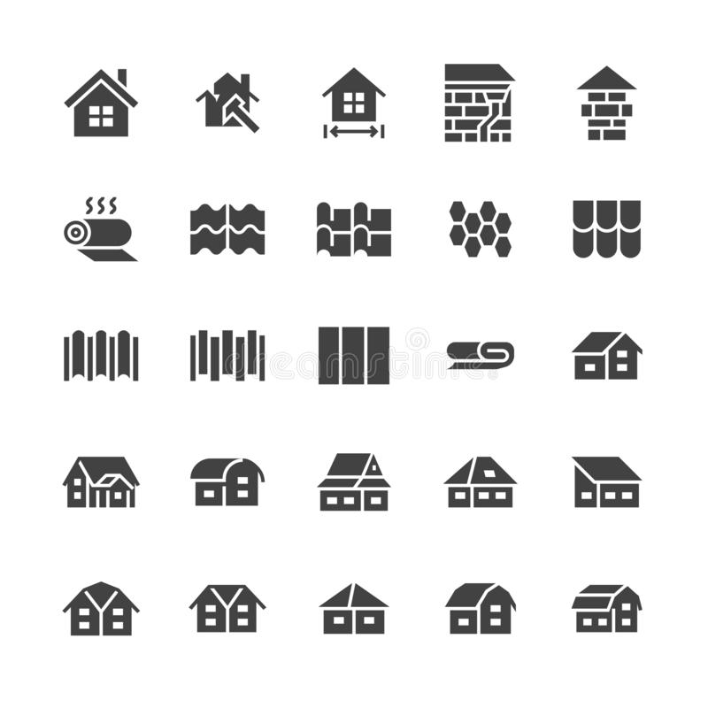 Roofing flat glyph icons. House construction, roof sheathing varieties, tile, chimney, insulation architecture. Illustrations. Signs for repair service. Solid vector illustration