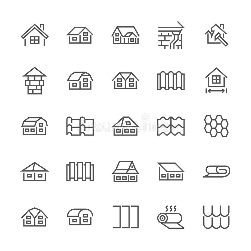 Roofing flat line icons. House construction, roofs sheathing varieties, tile, chimney, insulation architecture. Illustrations. Thin signs for repair service stock illustration