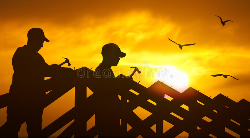 Roofing sunset royalty free illustration