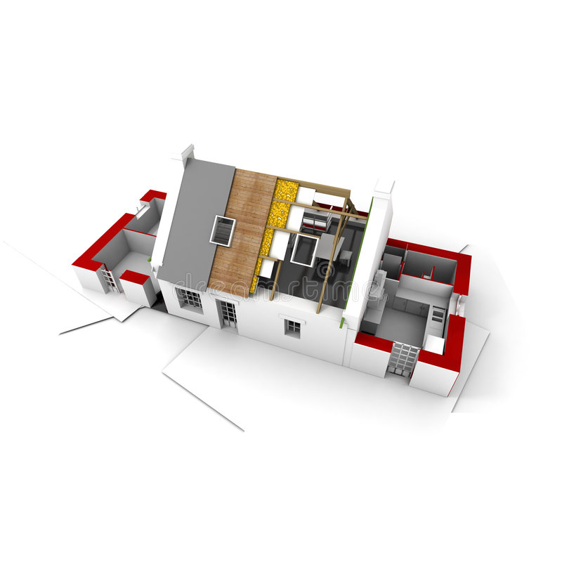 Roofless house on architect blueprints red royalty free illustration