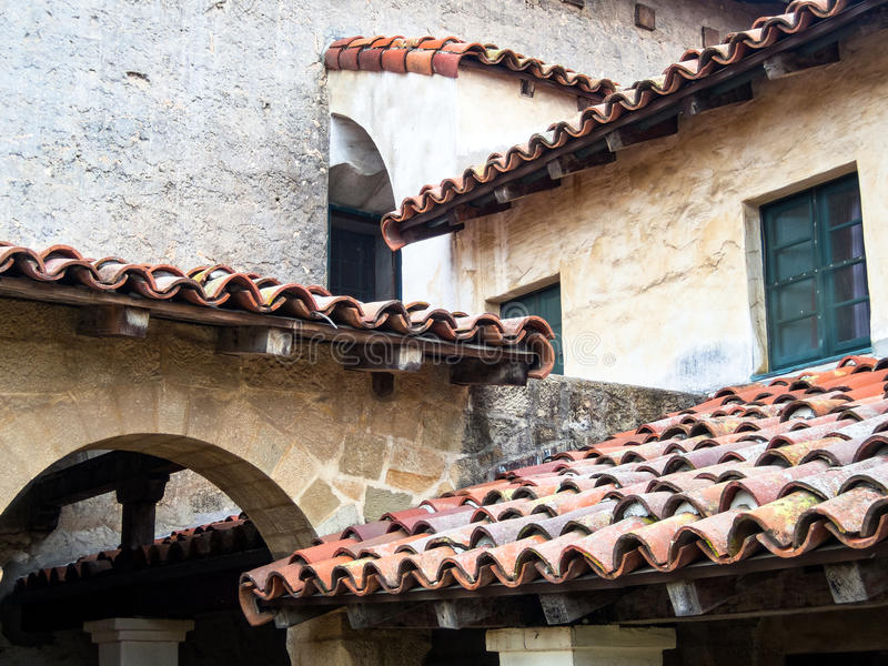 Rooflines, Mission Santa Barbara. Intersecting tile rooflines, Mission Santa Barbara, California stock image