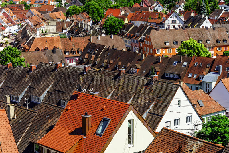 Roofs of Breisach on Rhein stock image