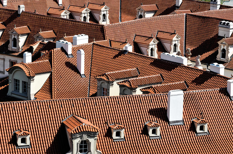 Roofs of buildings in Prague royalty free stock image