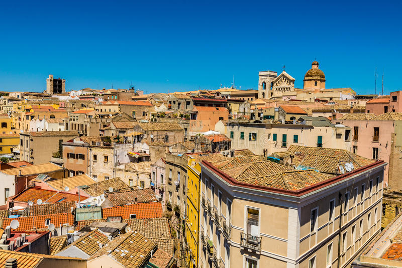 Roofs of Cagliari in Sardegna. Cagliari - capital of Sardinia. Sardegna wide angle view. Roofs and houses of biggest city in Sardinia island - Cagliari, Italy stock image