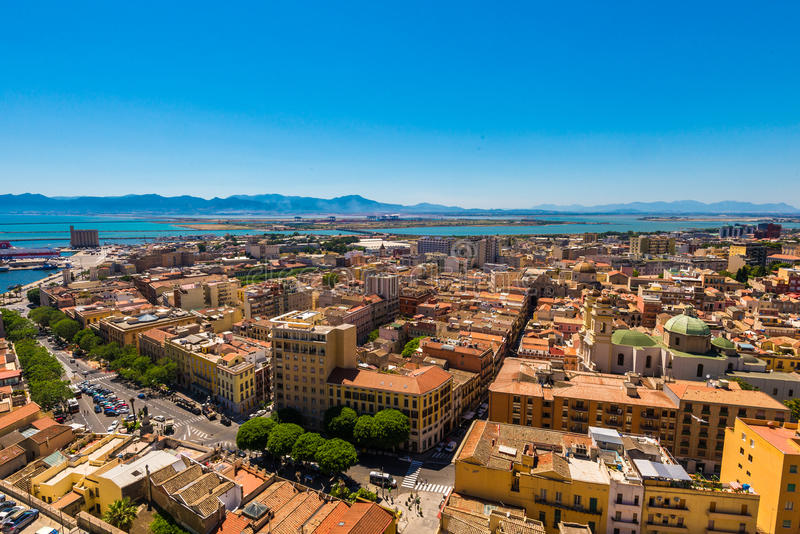 Roofs of Cagliari in Sardegna. Cagliari - capital of Sardinia. Sardegna wide angle view. Roofs and houses of biggest city in Sardinia island - Cagliari, Italy royalty free stock photography