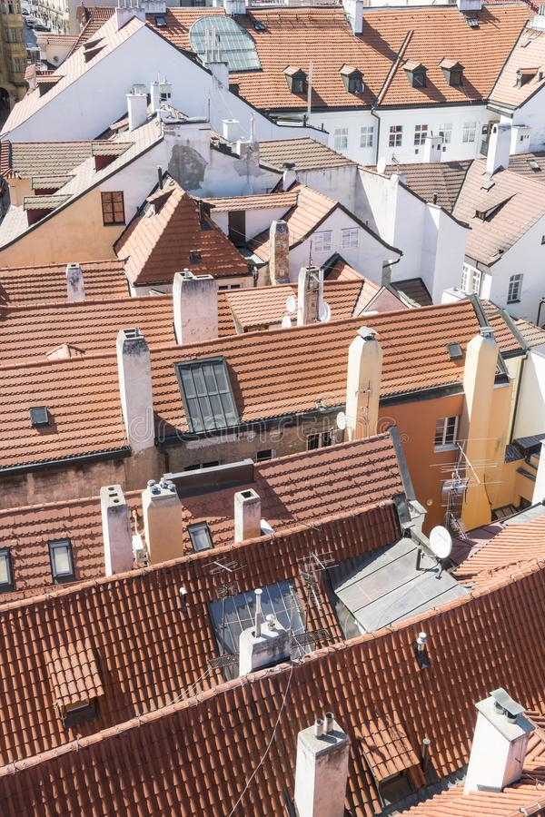 The roofs in the center of Prague stock photography