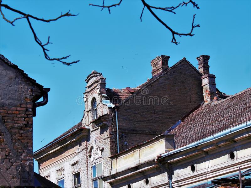 Roofs and chimneys. Roof and chimneys in the downtown royalty free stock images