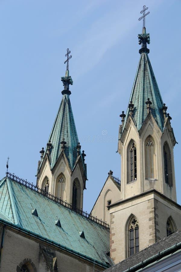 Roofs of the church, Kromeriz, Czech stock photos