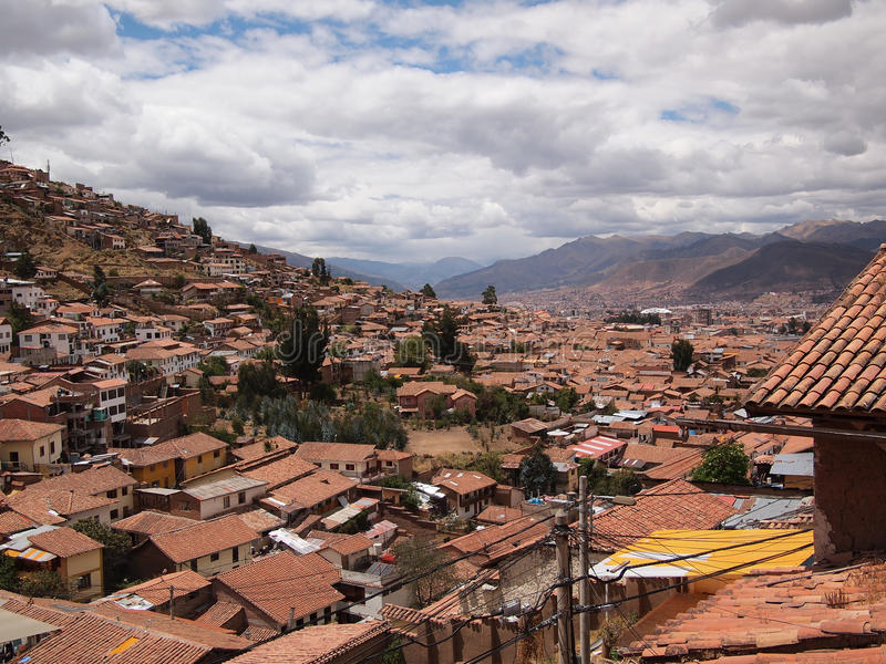 The roofs of Cusco stock image