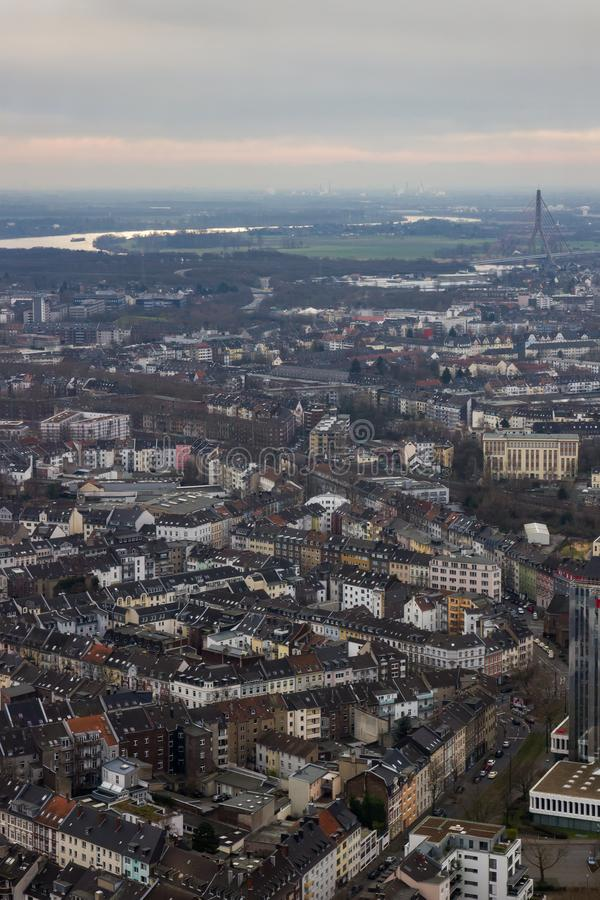 Roofs of Dusseldorf Germany. Buildings and River Winter Landscape stock images